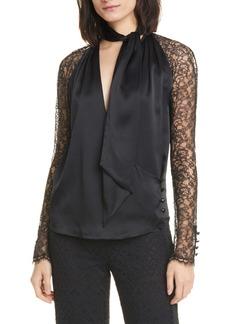 Jonathan Simkhai Lace Sleeve Silk Wrap Top