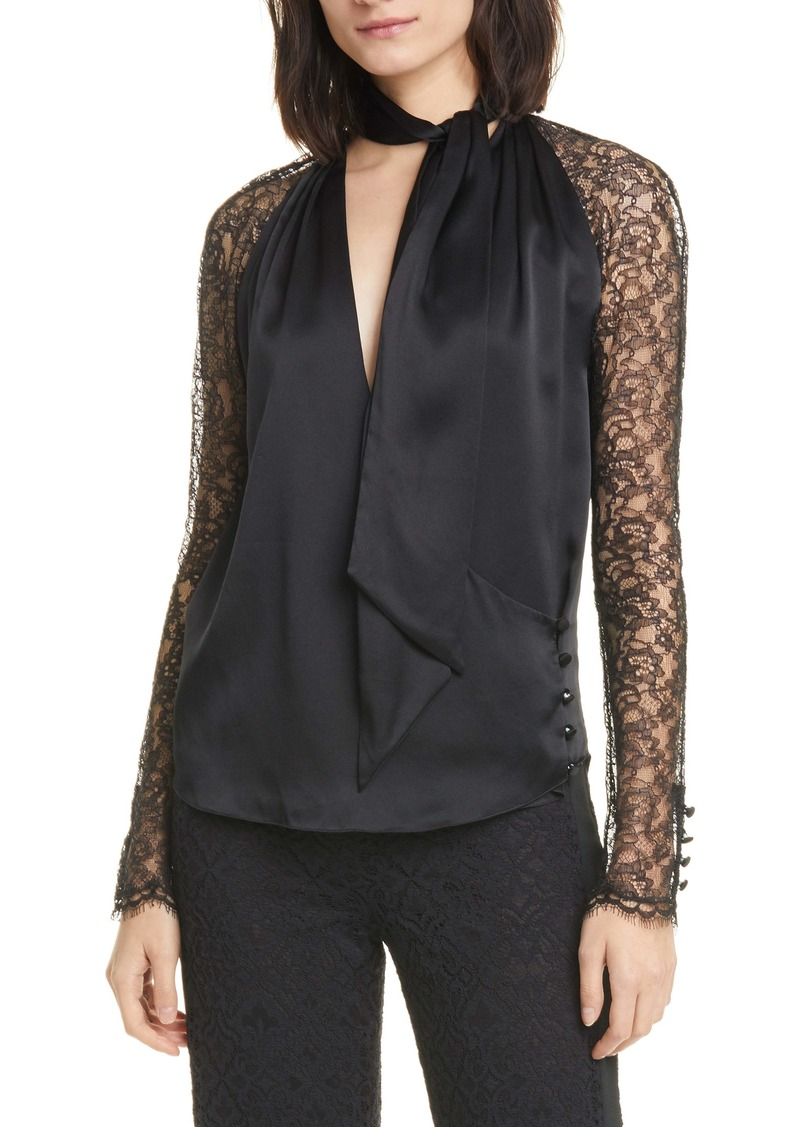 Jonathan Simkhai Lace Sleeve Silk Wrap Top
