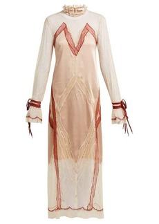Jonathan Simkhai Lace-trimmed satin dress
