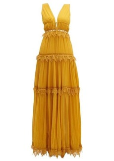 Jonathan Simkhai Lace-trimmed tiered silk maxi dress