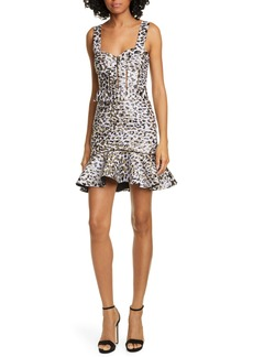 Jonathan Simkhai Leopard Lamé Bustier Cocktail Dress