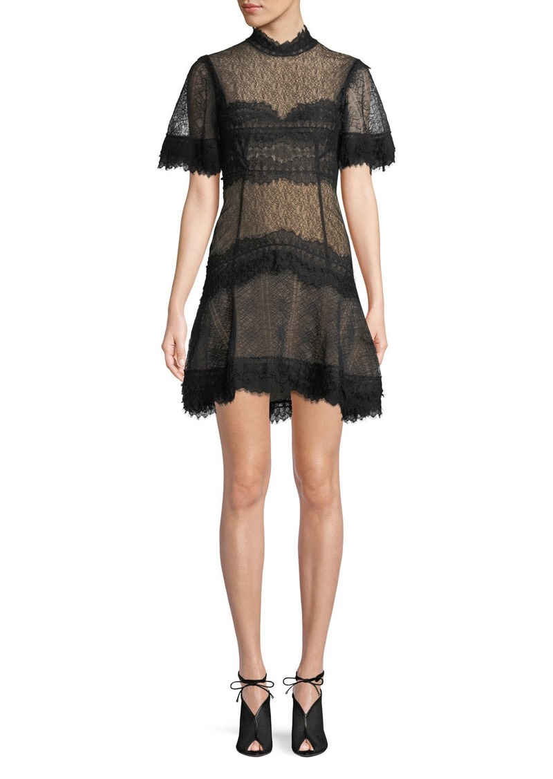 Jonathan Simkhai Lingerie-Inspired Lace Short-Sleeve Mini Cocktail Dress