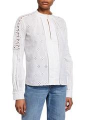 Jonathan Simkhai Long-Sleeve Button-Down Eyelet Cotton Shirt w/ Lace Trim