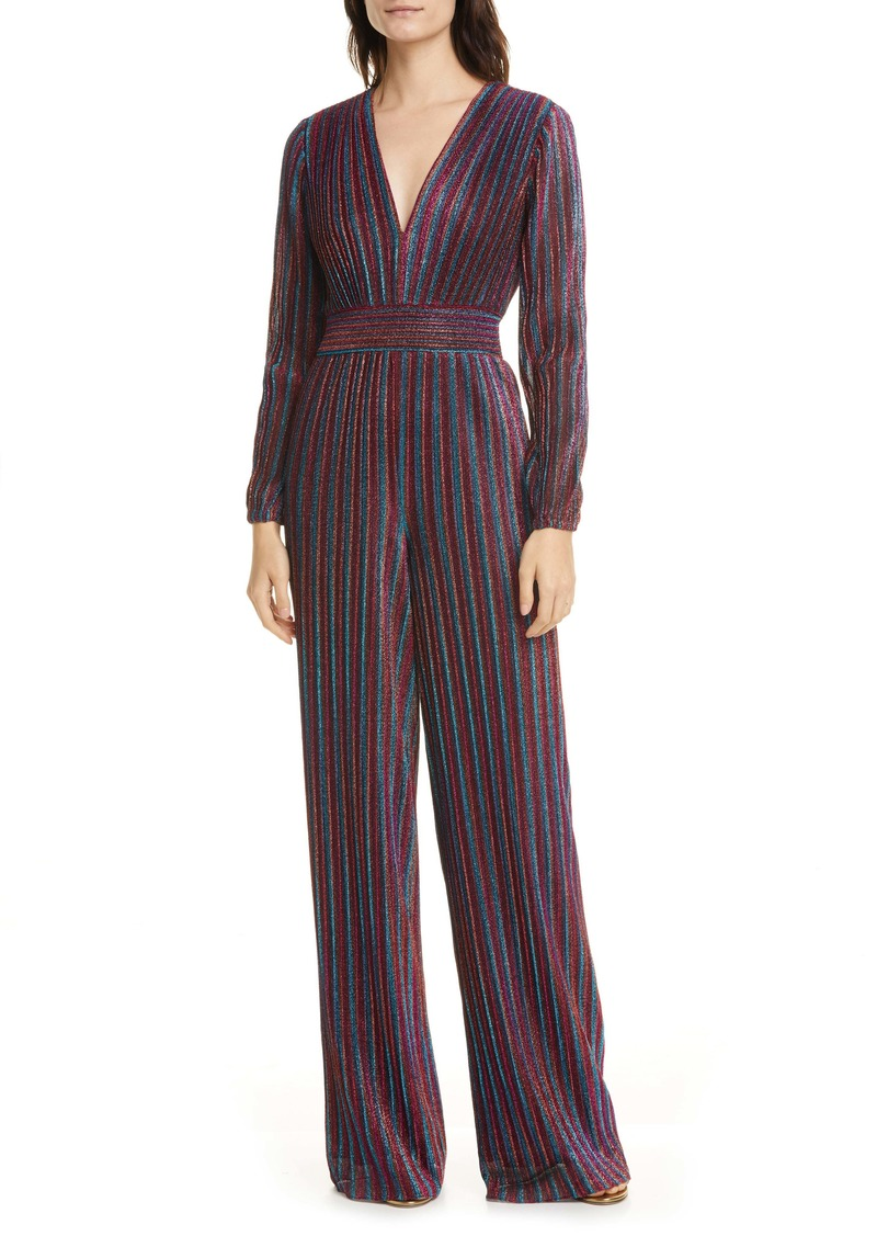Jonathan Simkhai Metallic Rainbow Pleats Long Sleeve Jumpsuit