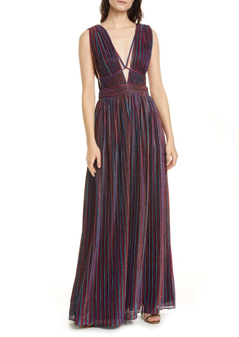 Jonathan Simkhai Metallic Rainbow Pleats Maxi Dress