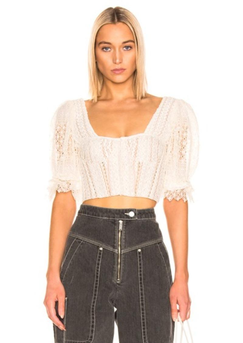 JONATHAN SIMKHAI Mixed Knit Lace Bustier Top