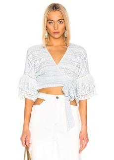 JONATHAN SIMKHAI Mixed Knit Lace Wrap Top