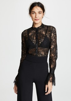 Jonathan Simkhai Mixed Lace Rouched Sleeve Bodysuit