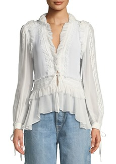 Jonathan Simkhai Mixed-Trim Long-Sleeve Silk Blouse
