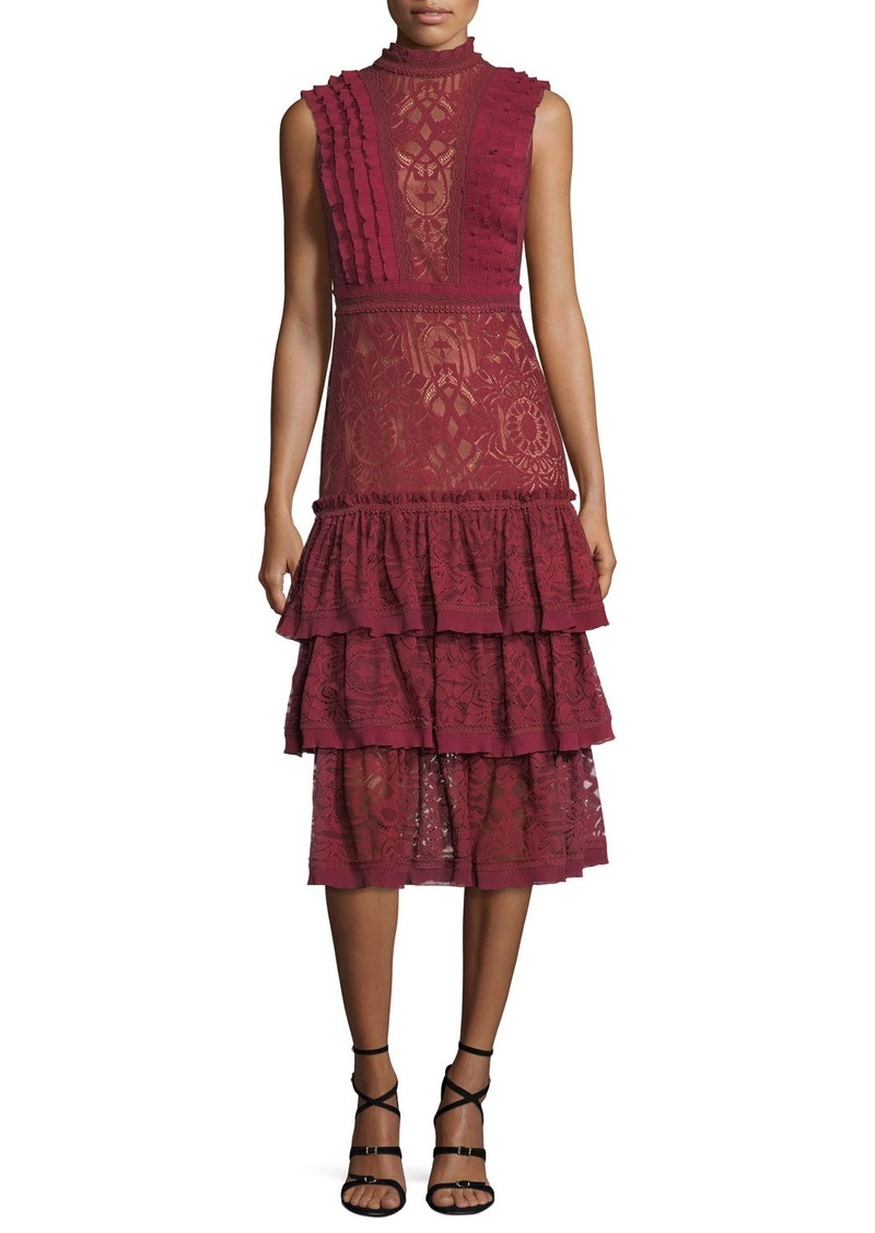 6196830e4e4 Jonathan Simkhai Mock-Neck Sleeveless Tower Mesh Lace Ruffled Dress ...