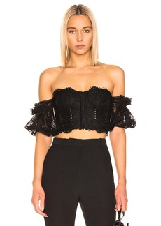 JONATHAN SIMKHAI Multimedia Corded Lace Bustier Top