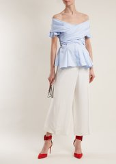 4f256c0f6cfb7 ... Jonathan Simkhai Off-the-shoulder cotton-blend twill wrap top ...
