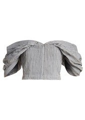 Jonathan Simkhai Off-the-shoulder gingham cropped top