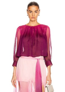 JONATHAN SIMKHAI Ombre Tie Puff Sleeve Top