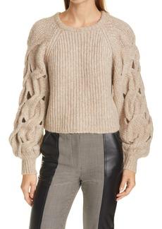 Jonathan Simkhai Open Stitch Detail Wool & Alpaca Blend Sweater