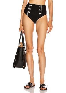 JONATHAN SIMKHAI Piped High Waisted Bikini Bottom