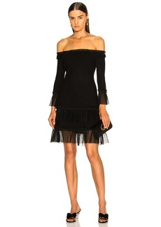 JONATHAN SIMKHAI Pleated Off Shoulder Fit and Flare Dress