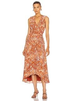 JONATHAN SIMKHAI Priscilla Sleeveless Ruched Midi Dress