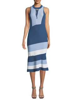 Jonathan Simkhai Rib-Knit Colorblock Lace-Up Midi Dress