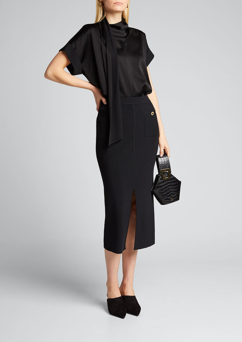 Jonathan Simkhai Rib-Knit Front-Slit Midi Skirt