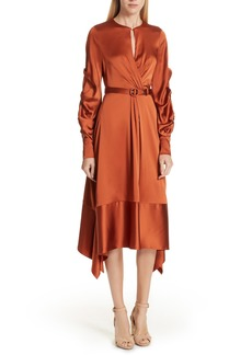 Jonathan Simkhai Ruched Sleeve Satin Midi Dress