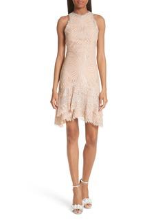 Jonathan Simkhai Ruffle Hem Metallic Lace Dress