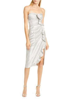 Jonathan Simkhai Ruffle Plissé Lamé Cocktail Dress
