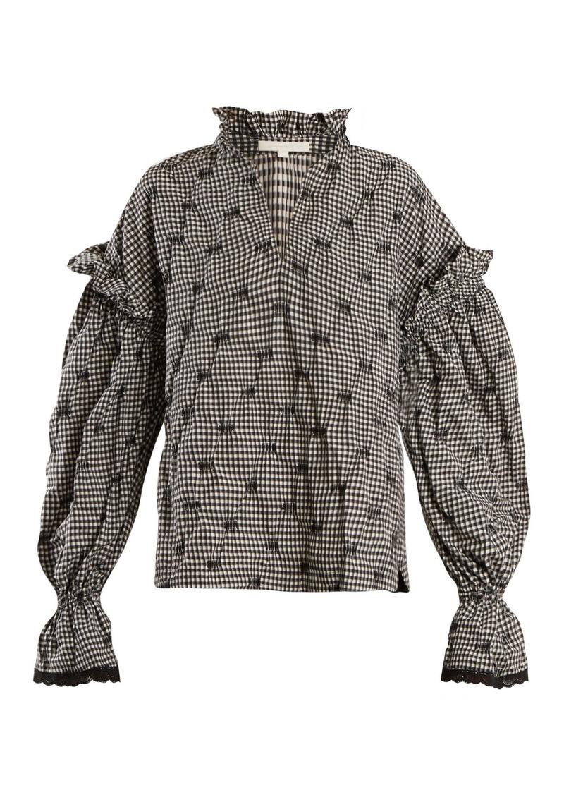 Jonathan Simkhai Ruffled-collar smocked gingham blouse