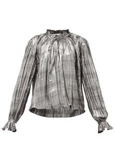 Jonathan Simkhai Ruffled high-neck plissé-lamé blouse