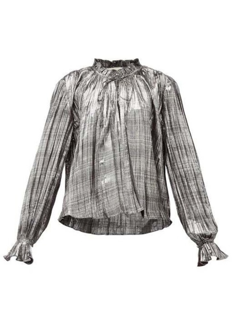 Jonathan Simkhai Ruffled high-neck plissé-lamé blouse
