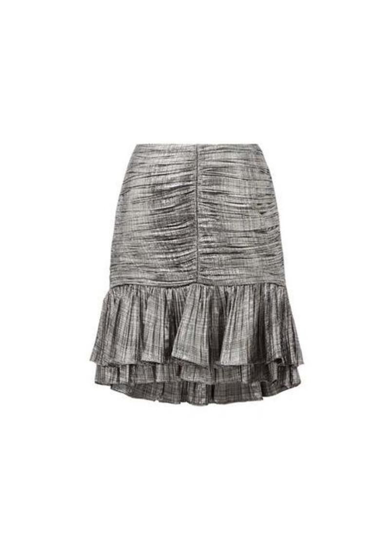 Jonathan Simkhai Ruffled plissé-lamé mini skirt