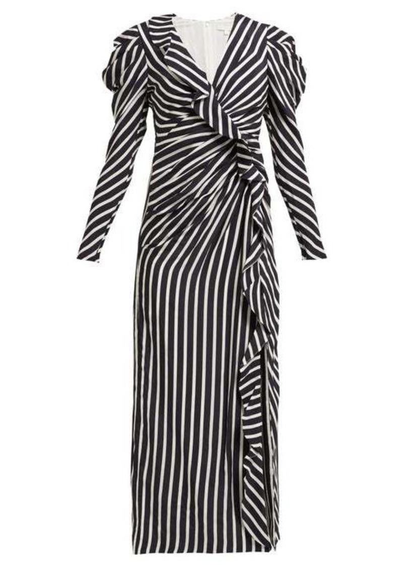 Jonathan Simkhai Ruffled striped sandwashed-crepe midi dress