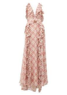 Jonathan Simkhai Ruffled tile-print silk-blend gown