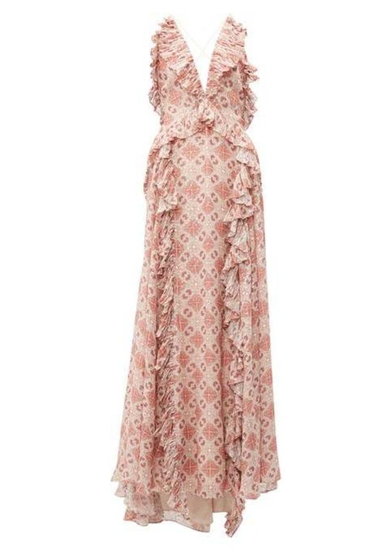 Jonathan Simkhai Ruffled tile-print silk-blend gown