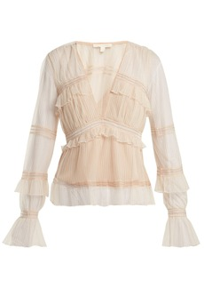Jonathan Simkhai Ruffled tulle blouse