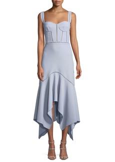 Jonathan Simkhai Seersucker Handkerchief Bustier Midi Cocktail Dress