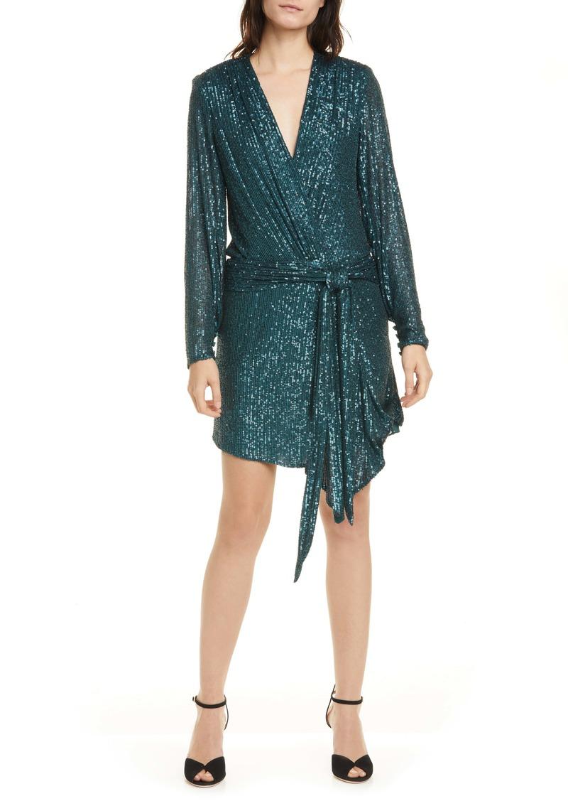Jonathan Simkhai Sequin Asymmetrical Long Sleeve Minidress