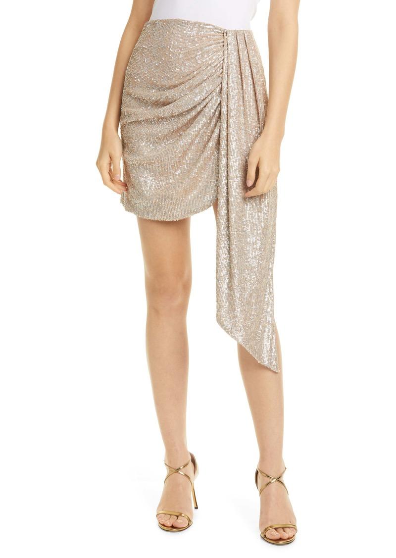Jonathan Simkhai Sequin Drape Panel Miniskirt