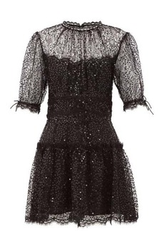 Jonathan Simkhai Sequin-embellished lace-trimmed mesh mini dress