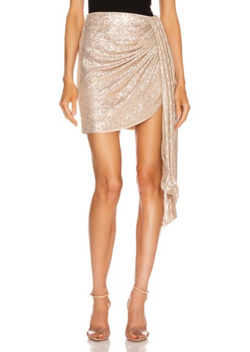 JONATHAN SIMKHAI Sequin Mini Drape Front Skirt