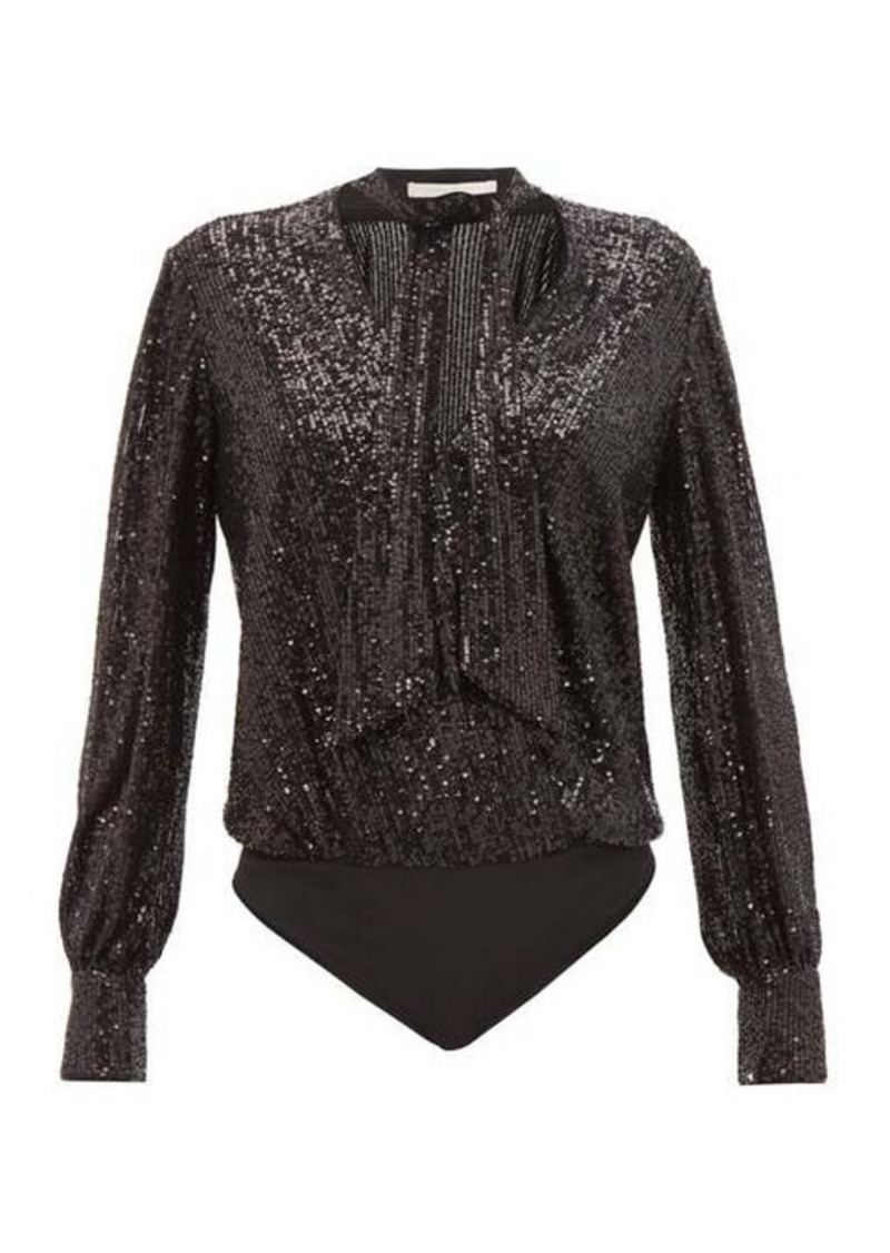 Jonathan Simkhai Sequinned tie-neck wrap bodysuit