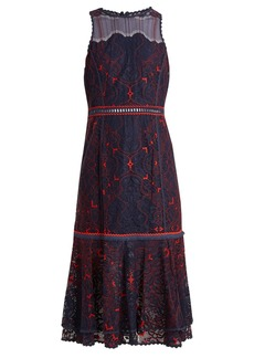 Jonathan Simkhai Sleeveless fluted-hem embroidered lace dress