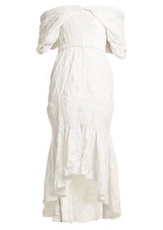 Jonathan Simkhai Smocked off-shoulder dress
