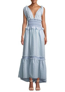 Jonathan Simkhai Smocked V-Neck Ruffle Maxi Dress