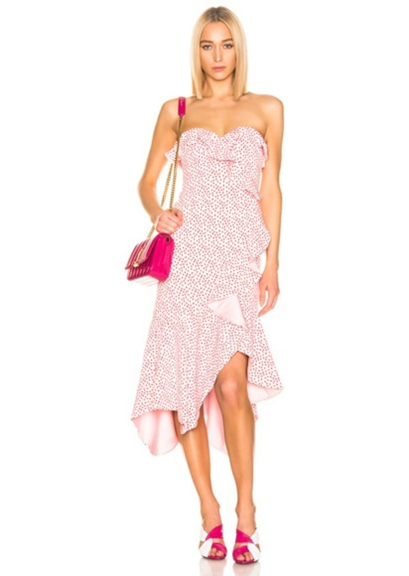 JONATHAN SIMKHAI Speckle Print Asymmetric Ruffle Dress