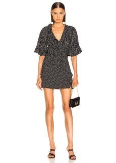 JONATHAN SIMKHAI Speckle Print Flutter Sleeve Dress