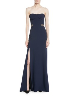 Jonathan Simkhai Strapless Crepe Bustier Gown with Grommet Details