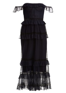Jonathan Simkhai Strapless ruffled tulle dress