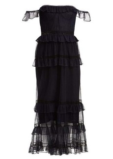 Jonathan Simkhai Strapless ruffled tulle dress