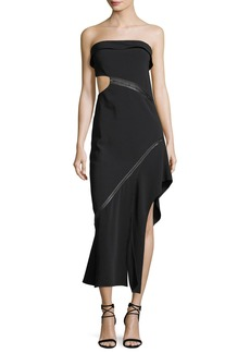 Jonathan Simkhai Strapless Side-Cutout Long Dress with Leather Trim
